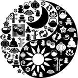 Simbolo di Yin Yang fatto dalle icone di zen Immagini Stock Libere da Diritti