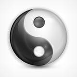 Simbolo di yin yang su bianco Fotografia Stock Libera da Diritti