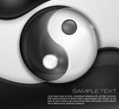 Simbolo di yin yang sul nero bianco Fotografia Stock Libera da Diritti