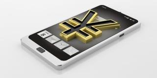 simbolo di yuan di Yen della rappresentazione 3d su uno Smart Phone Fotografia Stock Libera da Diritti
