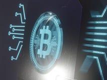 Simbolo digitale blu dell'ologramma del laser 3d della rappresentazione di concetto 3D del bitcoin illustrazione vettoriale