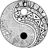 Simbolo disegnato a mano decorativo di yang e di Yin Fotografia Stock
