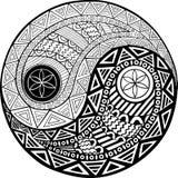 Simbolo disegnato a mano decorativo di yang e di Yin Immagine Stock Libera da Diritti