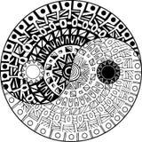 Simbolo disegnato a mano decorativo di yang e di Yin Immagini Stock Libere da Diritti