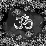 Simbolo disegnato a mano di ohm, segno spirituale OM di Diwali dell'indiano Foglie dell'albero di Bodhi intorno Illustrazione dec Fotografia Stock