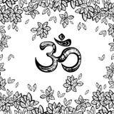Simbolo disegnato a mano di ohm, segno spirituale OM di Diwali dell'indiano Foglie dell'albero di Bodhi intorno Illustrazione dec Fotografia Stock Libera da Diritti