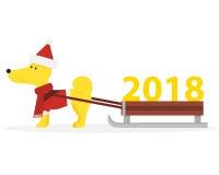 Simbolo divertente del cane giallo dell'anno 2018 Fotografia Stock Libera da Diritti