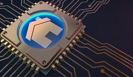 Simbolo domestico astuto sulla rappresentazione del circuito 3d Immagine Stock