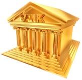 simbolo dorato 3D di una costruzione di banca Fotografia Stock