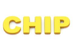 Simbolo dorato 3D del CHIP Fotografia Stock Libera da Diritti