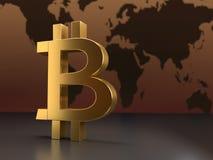 Simbolo dorato del bitcoin Fotografia Stock Libera da Diritti