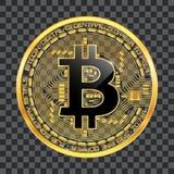 Simbolo dorato del bitcoin cripto di valuta Fotografia Stock