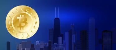 Simbolo dorato del bitcoin sul fondo blu della città di notte Bitcoin e concetto di tecnologia del blockchain Rete di Bitcoin con Immagini Stock
