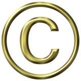 simbolo dorato del copyright 3D Fotografie Stock Libere da Diritti