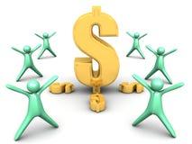 Simbolo dorato del dollaro Fotografie Stock