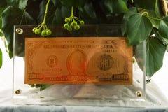 Simbolo dorato del dollaro Fotografia Stock Libera da Diritti