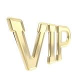 Simbolo dorato dell'emblema di VIP isolato Immagine Stock