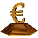 Simbolo dorato dell'euro e della piramide Fotografia Stock