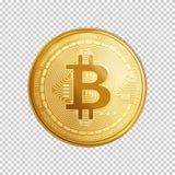 Simbolo dorato della moneta del bitcoin Fotografia Stock Libera da Diritti