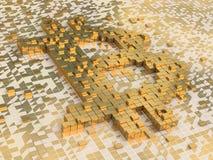 Simbolo dorato di Bitcoin del cubo Fotografie Stock
