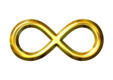 simbolo dorato di infinità 3D Fotografia Stock Libera da Diritti