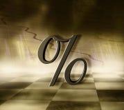 Simbolo dorato di percentuale Fotografia Stock Libera da Diritti