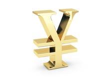 Simbolo dorato di Yen Fotografia Stock