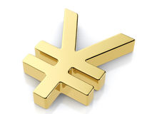 Simbolo dorato di Yen Fotografie Stock