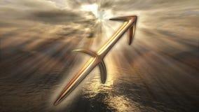 Simbolo dorato mistico animato di Sagittario dell'oroscopo dello zodiaco 3D che rende 4k illustrazione di stock