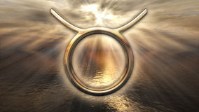 Simbolo dorato mistico di Toro dell'oroscopo dello zodiaco rappresentazione 3d illustrazione di stock