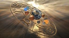 Simbolo dorato mistico girante dell'oroscopo dello zodiaco con dodici pianeti 3D che rende 4k royalty illustrazione gratis