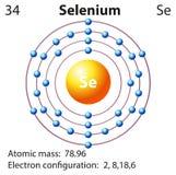 Simbolo e diagramma dell'elettrone per selenio illustrazione vettoriale