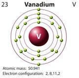 Simbolo e diagramma dell'elettrone per vanadio illustrazione vettoriale