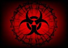 Simbolo e filo spinato di rischio biologico su fondo rosso Fotografia Stock Libera da Diritti