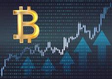 Simbolo e grafico di Bitcoin Fotografia Stock