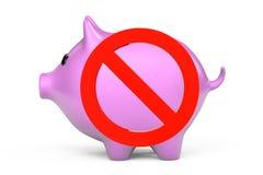 Simbolo e porcellino salvadanaio di proibizione Immagine Stock Libera da Diritti