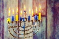 simbolo ebreo Chanukah, festa ebrea il festival delle luci Immagine Stock Libera da Diritti