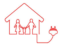 Simbolo elettrico della spina con la casa della famiglia Fotografie Stock