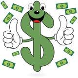 Simbolo felice del dollaro Fotografie Stock Libere da Diritti