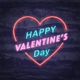 Simbolo felice del neon di giorno di biglietti di S. Valentino Immagini Stock