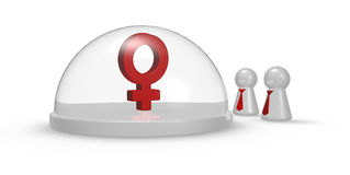 Simbolo femminile sotto la cupola ed i pegni di vetro Fotografia Stock Libera da Diritti