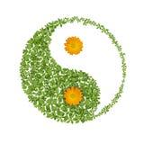 Simbolo floreale del yang del yin, icona di armonie Fotografia Stock