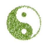 Simbolo floreale del yang del yin, icona naturale di armonie Fotografia Stock Libera da Diritti