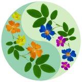 Simbolo floreale di Yin Yang illustrazione vettoriale