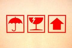 Simbolo fragile rosso Fotografie Stock Libere da Diritti