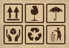 Simbolo fragile su cartone Fotografia Stock