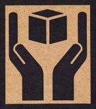 Simbolo fragile su cartone. Fotografia Stock