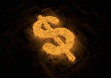 Simbolo futuristico del dollaro Fotografia Stock