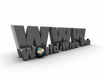 simbolo grigio di 3D WWW illustrazione di stock
