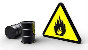 Simbolo infiammabile vicino ai barilotti chimici Fotografie Stock